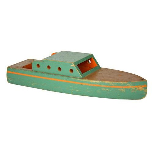 Vintage Green Wooden Toy Boat - Image 1 of 5