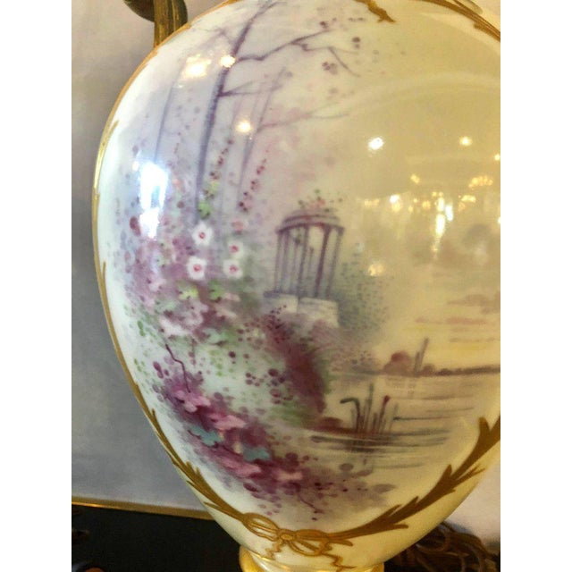 Belle Epoque Bronze Mounted French Porcelain Serves Urns Converted into Table Lamps - a Pair For Sale - Image 3 of 12