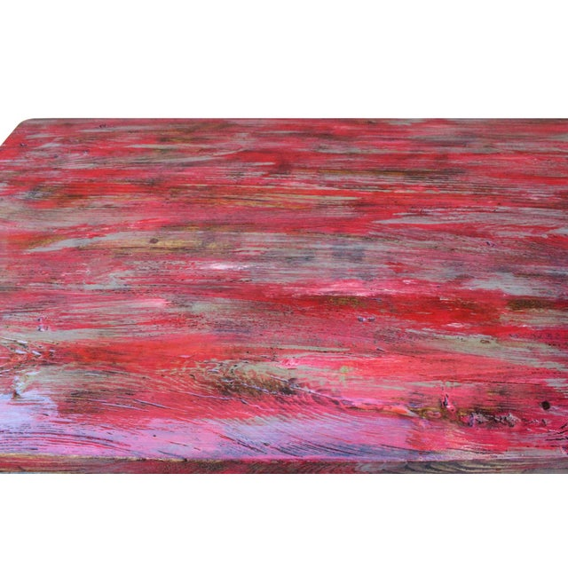 Distressed Pink Lacquer Raw Wood Plank Rectangular Metal Base Desk Table For Sale - Image 4 of 8