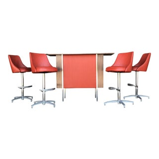 1960s Mid-Century Modern Chrome Craft Orange Bar and Barstools - 5 Pieces For Sale