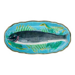 Wedgwood Majolica Turquosie-Ground Salmon Platter, English, Dated 1878 For Sale