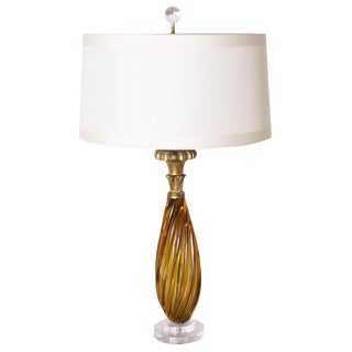 Amber Murano Lamp, C. 1950 With Shade For Sale
