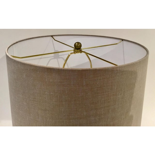 Arteriors Home Arteriors Modern Antique Brass Pierce Table Lamp With Shade For Sale - Image 4 of 5