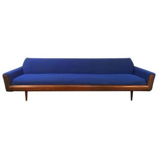 Blue Adrian Pearsall Style Walnut Sofa