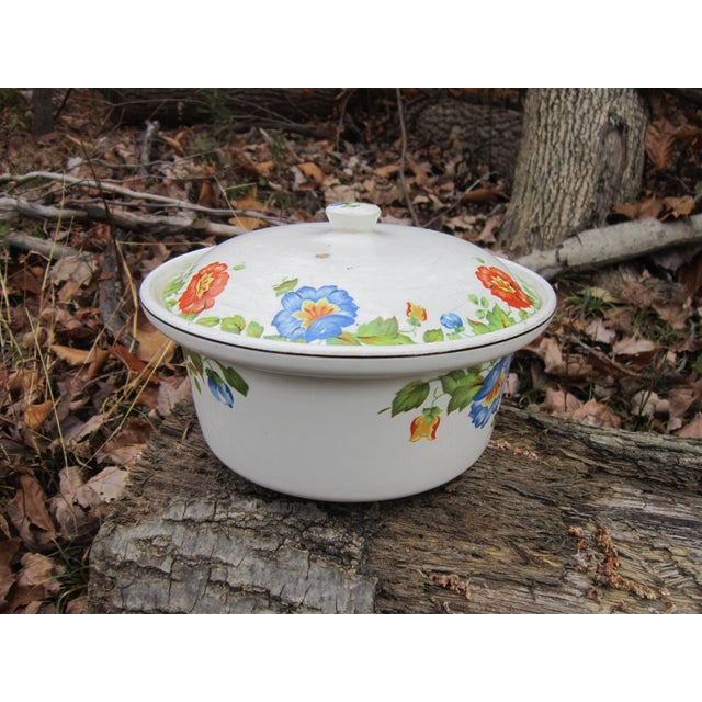 Farmhouse Columbia Chinaware Harker Floral Baking Casserole Dish / Canister For Sale - Image 3 of 10