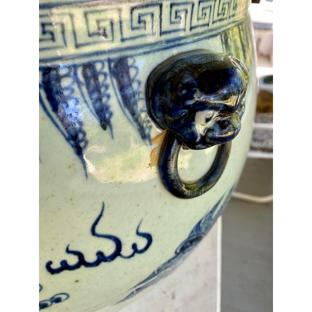Large Vintage Blue & White Dragons Asian Fish Bowl Planter Pot For Sale - Image 9 of 12