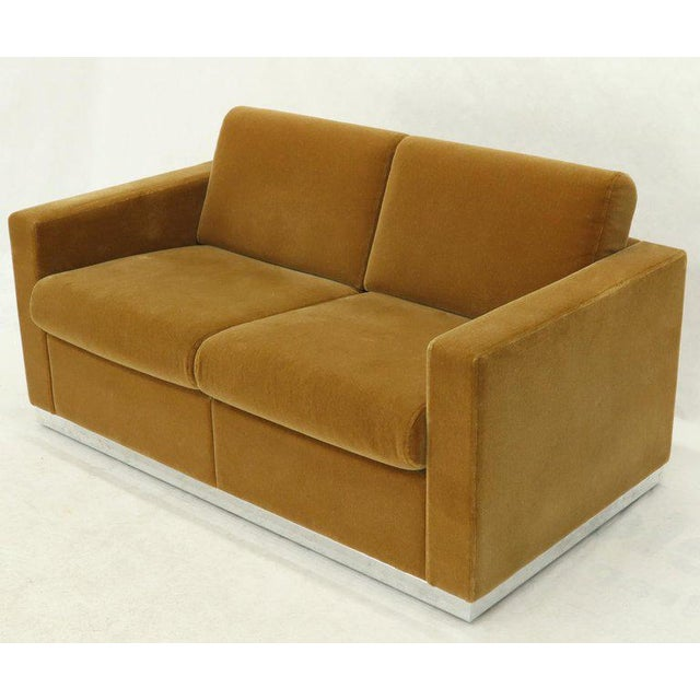 Mid-Century Modern Mohair Loveseat on High Polish Stainless Steel Base Ward Bennet for Brickel For Sale - Image 3 of 12