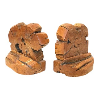 1970s Bohemian Organic Wood Bookends - a Pair For Sale