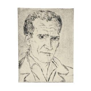 Johannes Fischer Secessionist Self-Portrait Etching, Circa 1920 For Sale