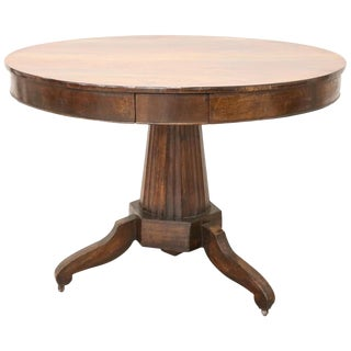 19th Century Empire Walnut Round Centre Table For Sale