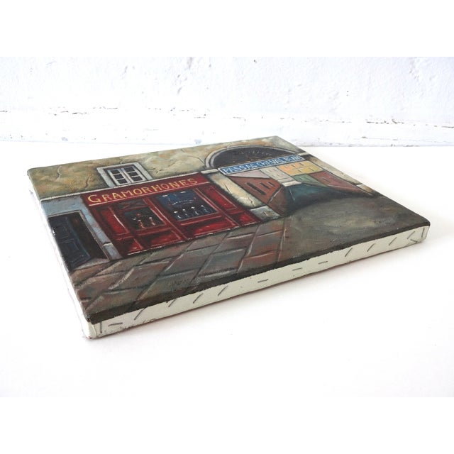 Canvas Vintage Painting of Paris, France, Storefronts and the Passage Du Cheval Blanc For Sale - Image 7 of 8