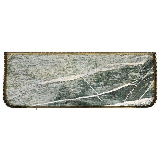 Rectangular green Vert Campan marble top with bronze gallery over a glazed cabinet door with ormolu trim and one interior...