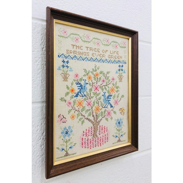 Vintage Tree Of Life Needlepoint In Frame Chairish