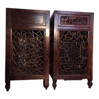 Late-19th Century Antique Chinese Carved Side Tables, Qing Period - 2 Pieces For Sale