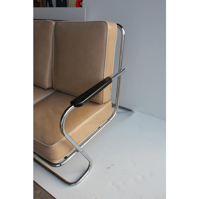 Art Deco Tubular Chrome Sofa in the style of Kem Weber For Sale - Image 4 of 4