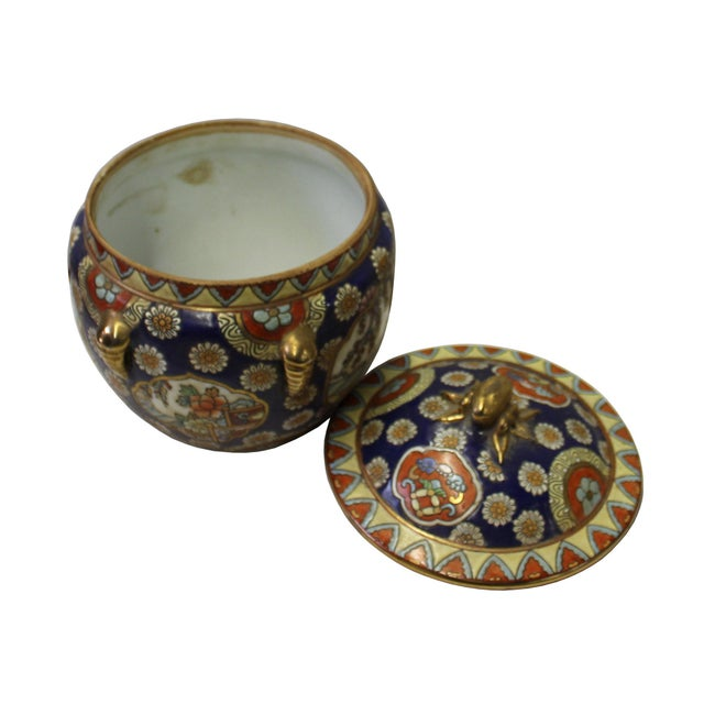 Chinese Oriental Porcelain Flower Scenery Container Box For Sale - Image 4 of 6