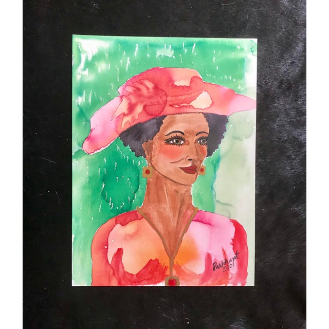 """"""" Woman in Hat """" Watercolor Portrait - Signed Original For Sale - Image 4 of 4"""