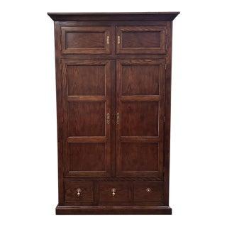 "Vintage ""Henredon"" Oak Wardrobe W/ Shelves and Drawers C.1980 For Sale"