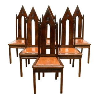 19th Century Gothic Revival French Victorian Dining Chair Set For Sale