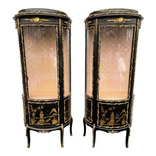 20th Century Chinese Hand Painted Vitrine Cabinets- a Pair For Sale