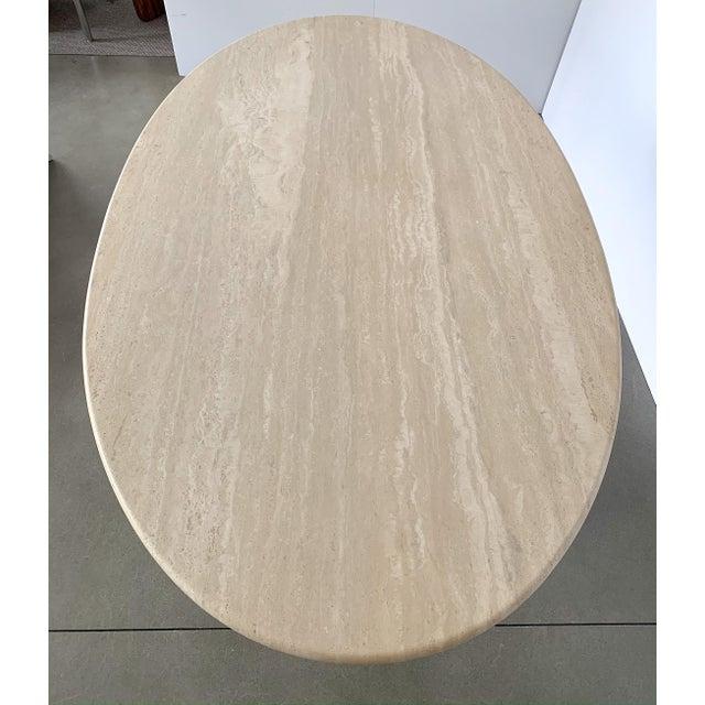 "Carlo Scarpa ""Samo"" Oval Travertine Pedestal Dining Table For Sale - Image 11 of 13"