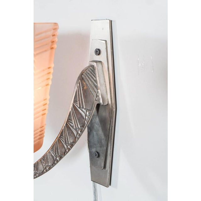 Pair of Art Deco/Skyscraper Style Nickel and Frosted Rose Glass Sconces - Image 7 of 8