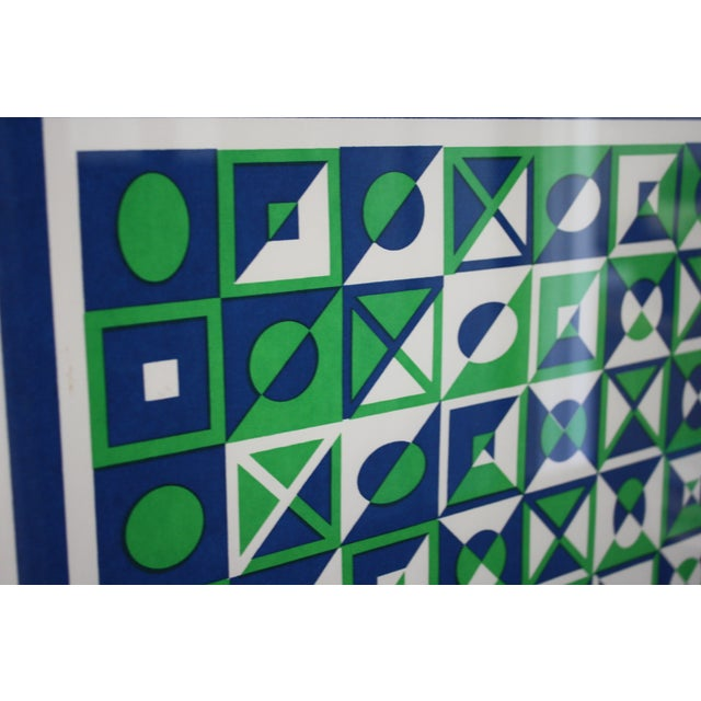1970s Op Art Blue and Green Serigraphs - A Pair - Image 10 of 11