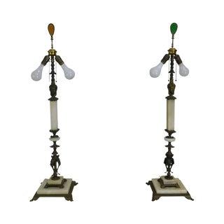 Oscar Bach Style Vintage Art Deco Brass & Onyx Tall Lamps For Sale