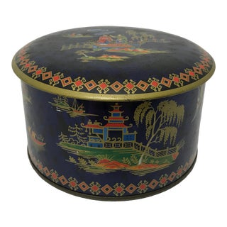 English Chinoiserie Style Tin For Sale