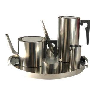 "Arne Jacobsen ""Cylinda"" Coffee & Tea Set, Mid-Century, Unused Condition - Set of 5 For Sale"