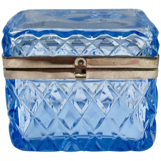 Blue Glass Box With Hinged Closure For Sale