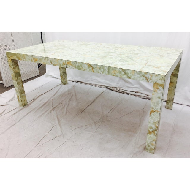 Vintage Mid-Century Modern Faux Marble Parsons Table For Sale In Raleigh - Image 6 of 9