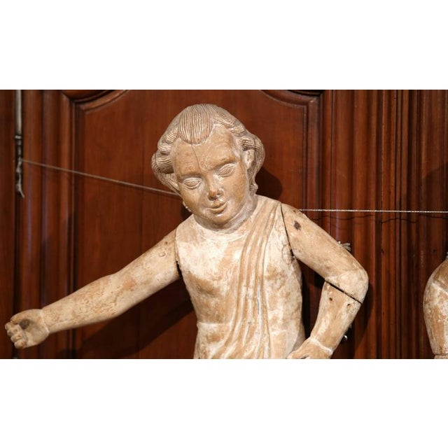 White Mid-18th Century Italian Hand-Carved White Wash Cherubs - A Pair For Sale - Image 8 of 10