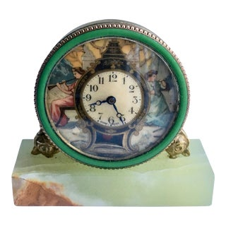 Swiss Hand-Painted Desk Clock For Sale