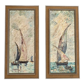 """""""Bright Sails"""" Original Oil Paintings by Gideon - a Pair For Sale"""