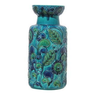 West German Modern Blue & Green Vase For Sale