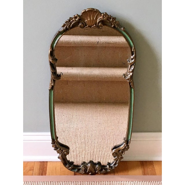 1920's French Shabby Chic Gold & Green Carved Mirror For Sale - Image 11 of 11