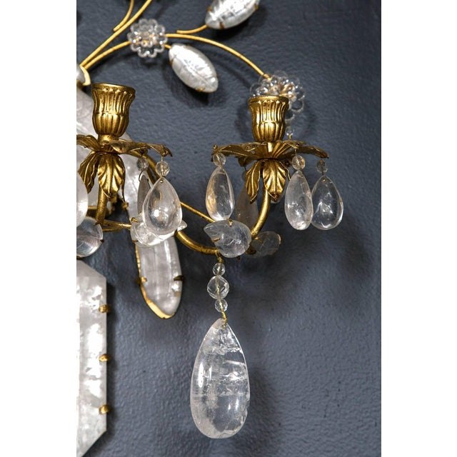 Baguès Baguès Four-Light Bird Rock Crystal Wall Sconce For Sale - Image 4 of 6
