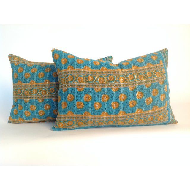 A pair of Indian vintage block print pillows with natural linen back and hidden zipper. Inserts included.