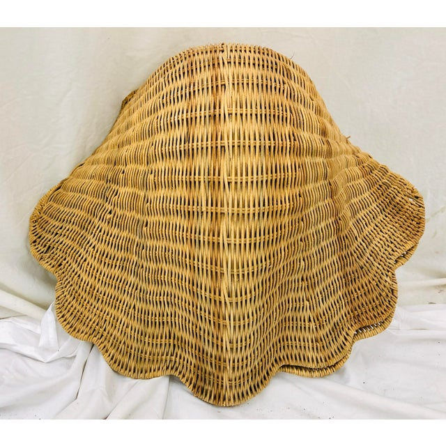 Boho Chic Vintage Woven Wicker Clam Shell Basket For Sale - Image 3 of 13