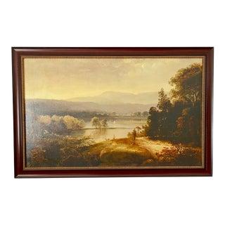 Hudson River School Landscape River View Giclee Reproduction, Framed For Sale