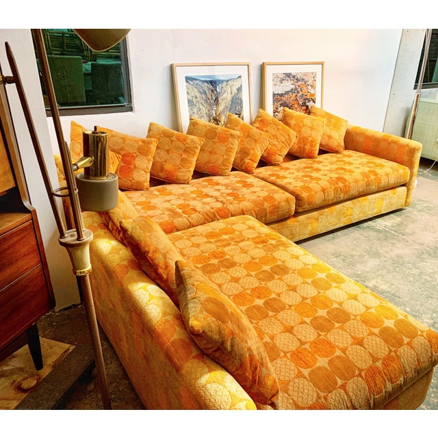 Mid 20th Century Jack Lenor Larsen Milo Baughman Style Two-Piece L-Shaped Sectional Sofa For Sale - Image 5 of 13