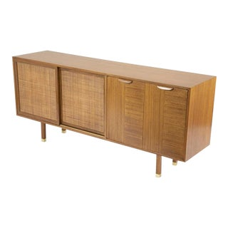 Sapele Mahogany Cane and Brass Credenza Designed by Harvey Probber For Sale