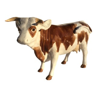 Antique Bavent French Faience Cow