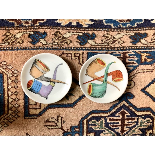 Ceramic Piero Fornasetti Style Pipe Coasters- a Pair For Sale - Image 7 of 7
