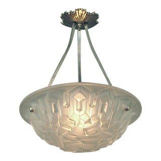 1920s French Geometric Marvel Lighting Bowl With Brushed Nickel Hardware by Degué For Sale