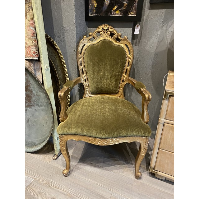 French Louis XIV Hand-Carved Side Chair in Avocado Mohair For Sale - Image 3 of 3