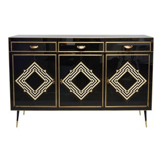 Op Art Murano Black and White Glass Clad Cabinet or Sideboard With Brass Hardware For Sale
