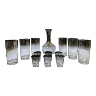 Dorothy Thorpe Style Glasses, Decanter & Shot Glasses - Set of 13 For Sale