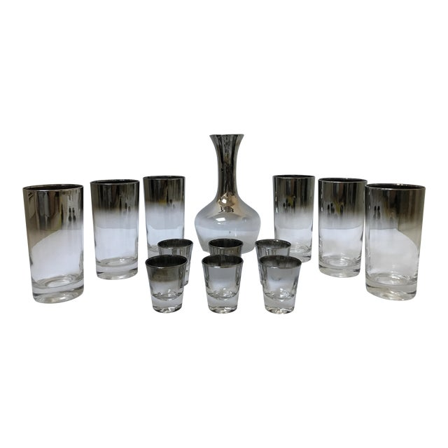 Dorothy Thorpe Style Glasses, Decanter & Shot Glasses - Set of 13 For Sale